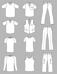 Man clothes greyscale summer collection isolated on white