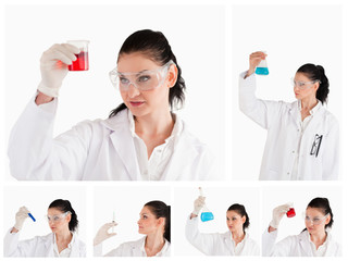 Collage of a female scientist looking at a red test tube and a b