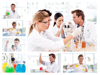 Collage of several scientists doing experiments