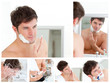 Collage of a young man shaving