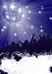 flyer party fete poster plakat disco disko blau night