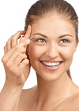 Woman plucking her eyebrows poster