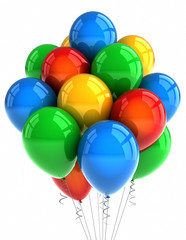 Party balloons over white background