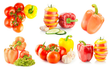 Pepper and tomato collection on white background