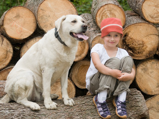 Girl with dog on trek