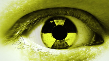 Radiation sign in eye. Stylized motion.