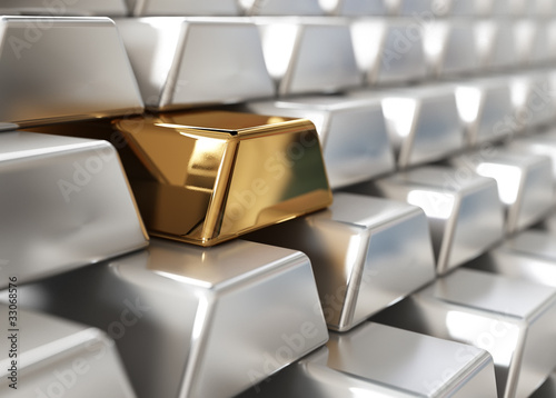 Silver ingots with one golden