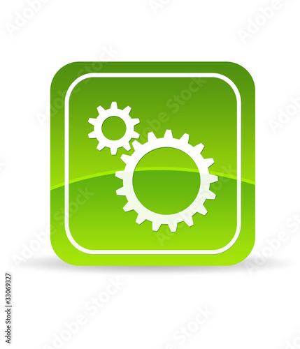 Green Mechanical Gears Icon