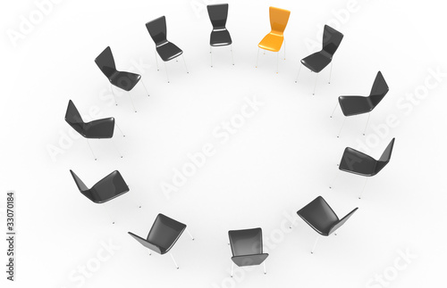 Chairs in a circle.