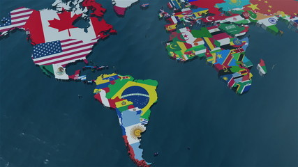 3D World Map to South America with clouds