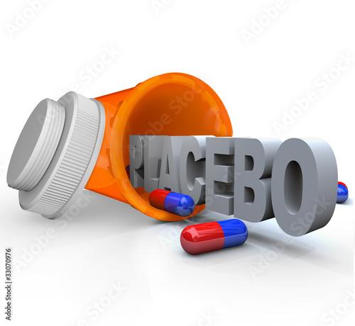Prescription Medicine Bottle - Placebo Capsule Word
