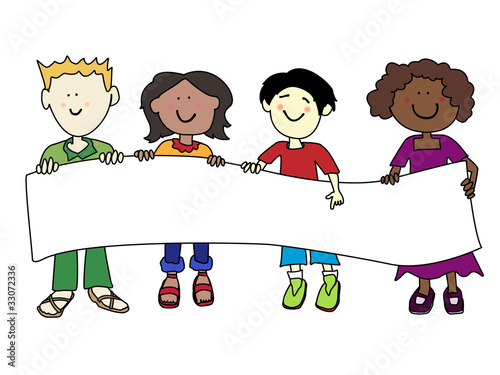 Ethnic diversity kids and banner