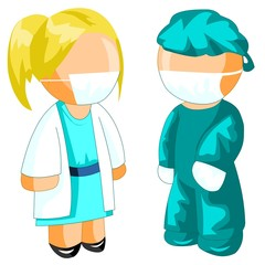 Female doctor and surgeon icon
