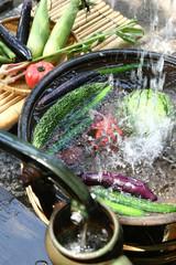 井戸水で冷やす野菜