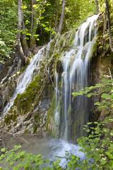 Tropical scenery of Skra waterfalls at north Greece