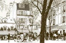 Montmartre à Paris sous la neige