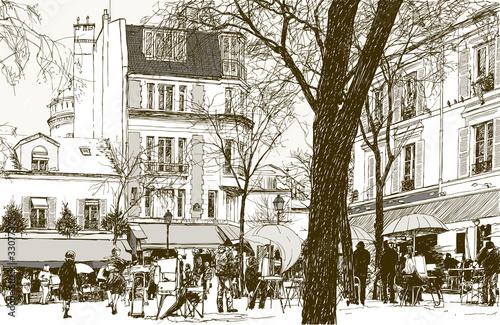 Montmartre in Paris under snow