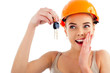 Photo of happy woman construction engineer wearing protective or