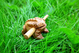 Asian handmade wealthy frog on green grass background poster