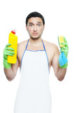 Sad young man in apron holding cleaning sponge and bottle poster