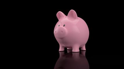 rosa sparschwein auf schwarz