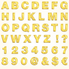 Alphabet golden gold letter vector metal singboard