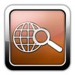 """Bronze Glossy Square Icon """"Search"""""""