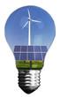 Leinwanddruck Bild - Windrad und Solarzellen