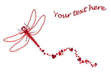 Red hearts dragonfly