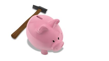 rosa sparschwein auf weiß von oben vor hammer