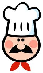 Chef Man Face Cartoon Mascot