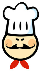 Asian Chef Man Face Cartoon Mascot