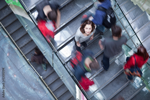 At the university/college - Students rushing up and down