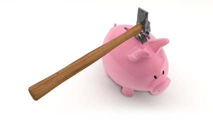 rosa sparschwein auf weiß mit zerbrechendem hammer