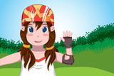 Cute ponytail gir in helmet and protection  with hand up