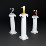 Three columns supporting golden, silver and bronze numbers.