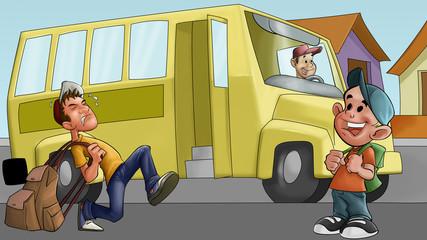 little boy and schoolbus