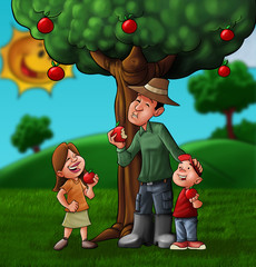 the family and the treee