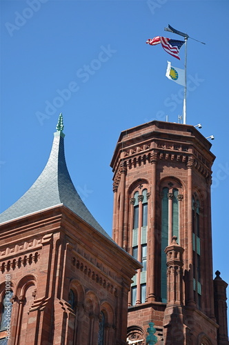 Detail of the Smithsonian Castle in Washington, DC