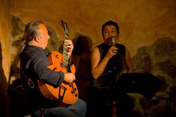 Jazz duet on stage