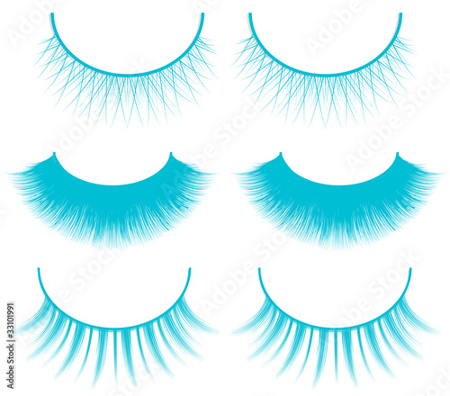 set of blue eyelashes isolated on white background
