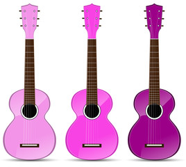 set of pink classical acoustic guitar isolated on white