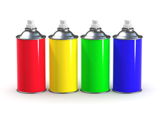 3d Rainbow spraycans lined up