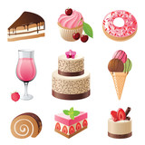 Fototapety sweets and candies icons set