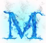 Letter M in blue ink design