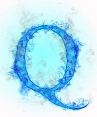 Letter Q in blue ink design