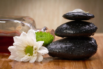 spa blanced stones anda essential oil