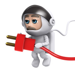 3d Astronaut plugs in the power