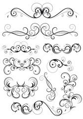 set di decorazioni classiche con fiori, foglie e spirali