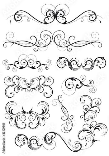 Ustaw dekoretioni classiche con fiori, foglie e spirali